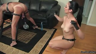 Hot Mistress Preparing Slave's Ass For Strapon Fucking